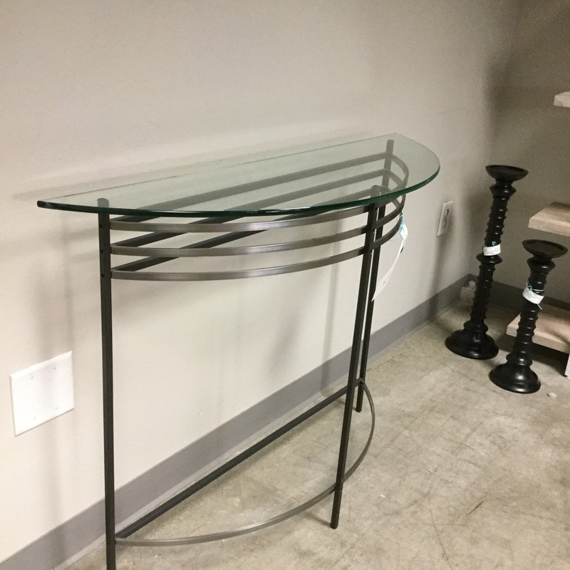 "Half Moon Table, Glass & Metal, Size: 36""X15""X33"""