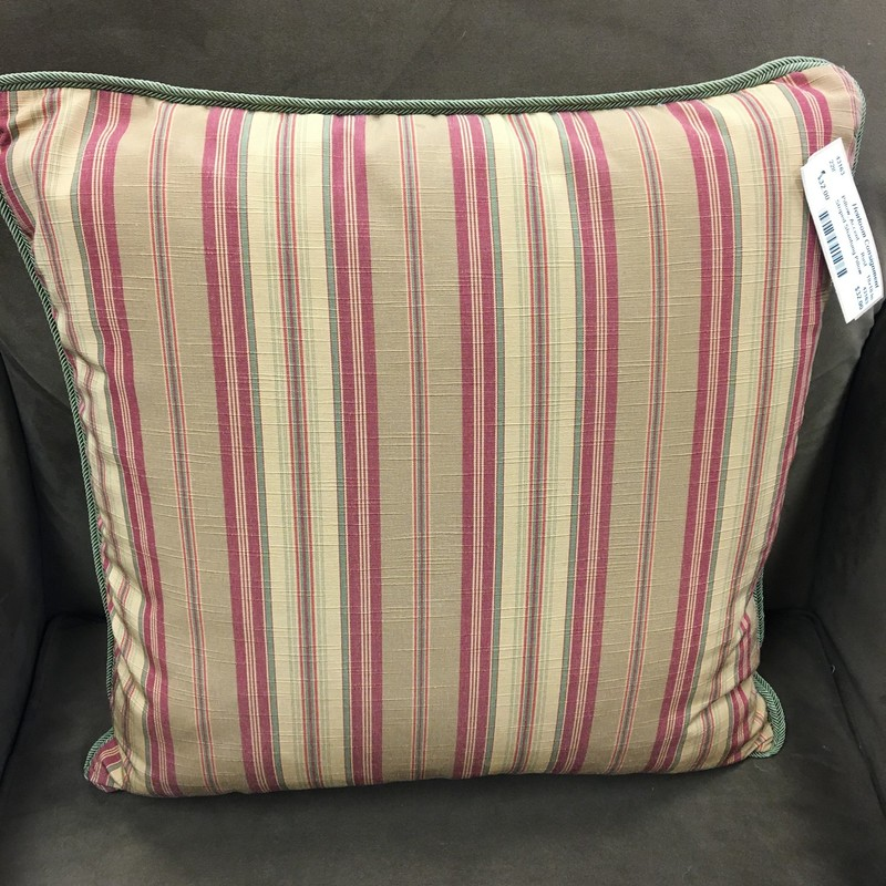 Striped Shantung Pillow, Rust, Size: 18x18 In