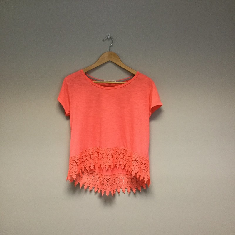 Rewind Lace Hem Tee<br /> Size M<br /> Neon Coral<br /> $9.50