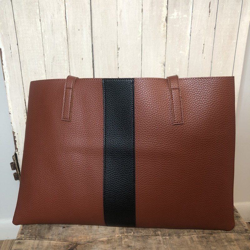 Vince Camuto Career Brown Luck Vegan Leather Tote<br /> Like NEW !<br /> 17 W x 11.75H<br /> The Luck Tote is durably crafted of wipe clean, pebbled vegan leather styled with a contrast stripe.  Generously sized to carry your daily essentials, the tote is designed with an unlined sueded interior & hanging slip pocket. Embossed Vince Camuto Logo.