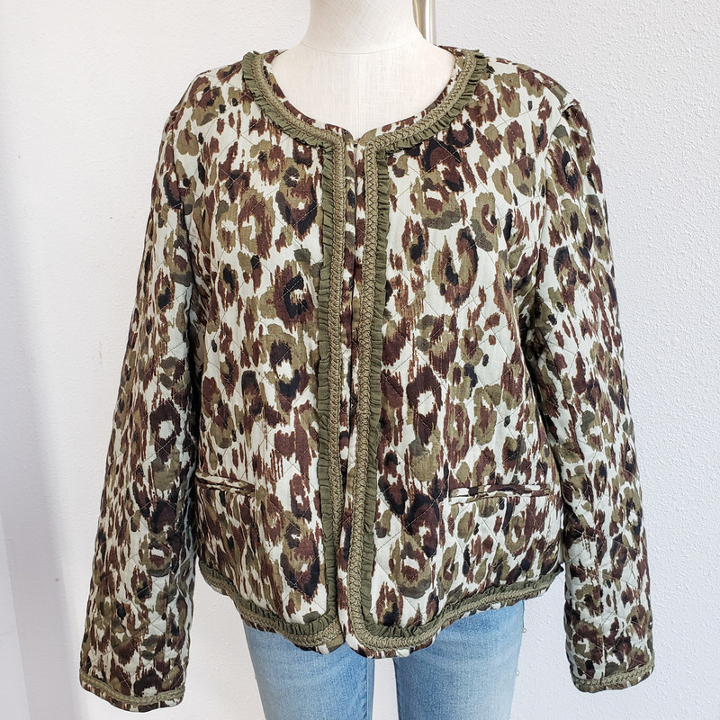 J Crew<br /> Printed Quilted jacket with hook and eye closures<br /> NWT<br /> Size XL