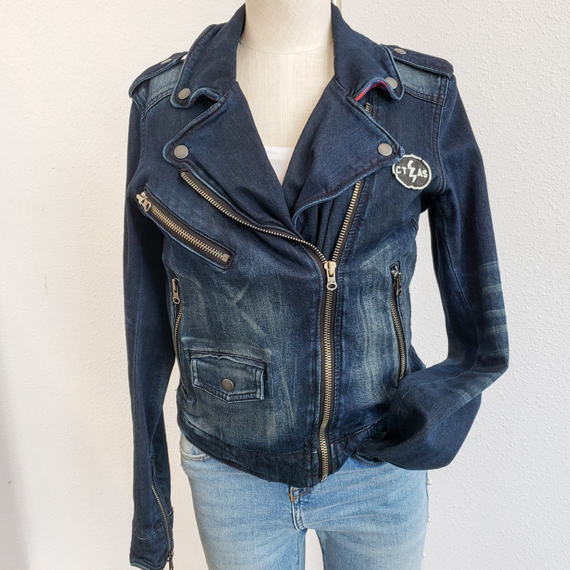 Converse,<br /> Denim Motorcycle Jacket<br /> Size Small
