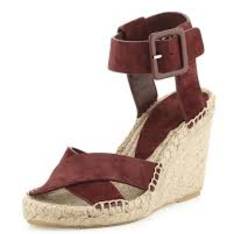 Vince gently worn in box; Stefania Suede Espadrille Wedge Sandal, Nut size 9<br /> <br />     Vince sport suede espadrille sandal.<br />     3.5&quot; braided jute wedge heel; platform lowers pitch.<br />     Crisscross straps across open toe.<br />     Adjustable ankle strap with covered buckle.<br />     Leather lining.<br />     Rubber outsole.<br />     &quot;Stefania&quot; is made in Spain.