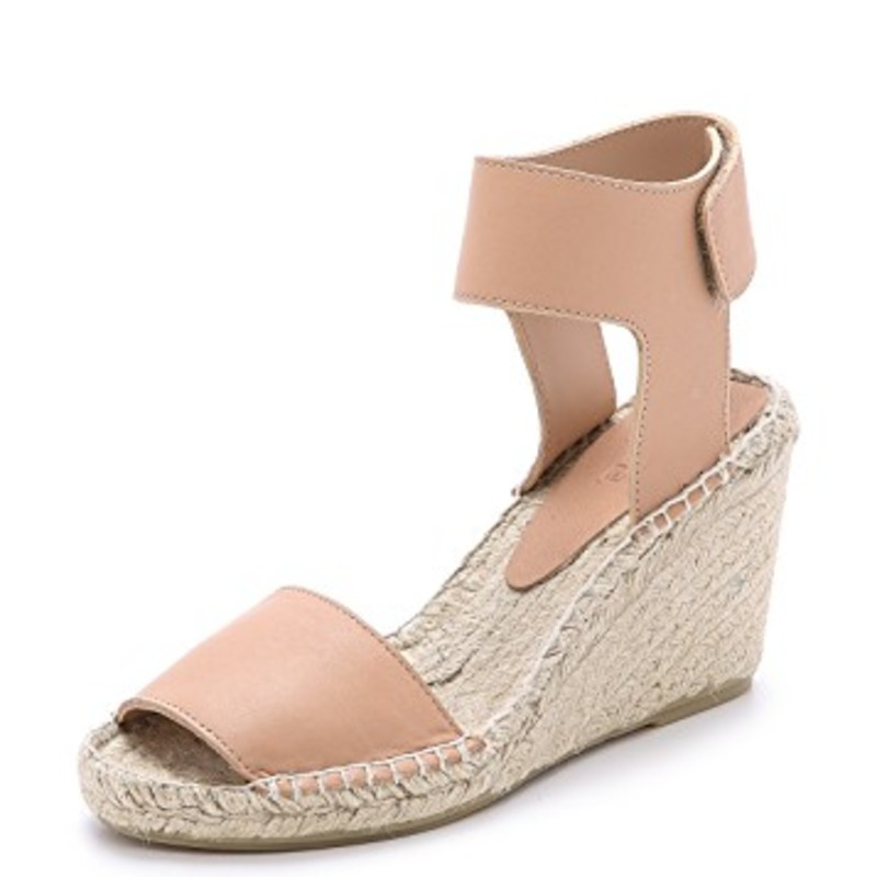 Vince Sophie Wedge sandal espadrilles with box; gently worn size 9 in nude. Orig.rtl: $295<br /> <br /> Braided jute lends a relaxed feel to sturdy leather Vince espadrille sandals. A Velcro® patch secures the wide ankle cuff. Rubber sole.<br /> <br /> Leather: Cowhide.<br /> Made in Spain.<br /> This item cannot be gift-boxed.<br /> <br /> Measurements<br /> Heel: 3.25in / 85mm