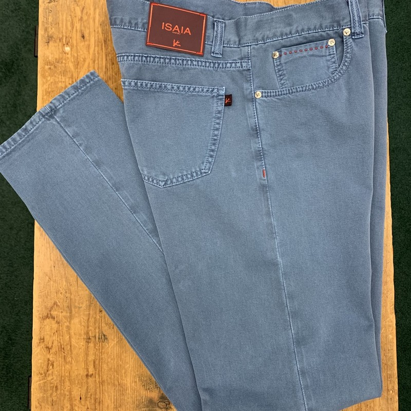 $500 Isaia jeans<br /> Color: Blue<br /> Size: 36W 34L<br /> Condition: Excellent