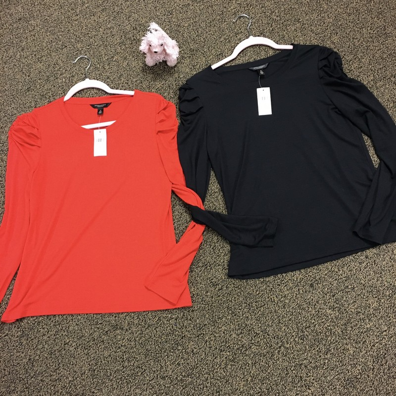 Puffed Sleeve Top, Tomatoe & Black, Size: M.  This is a soft tissue feel top.  Available in 2 colors.  Pick yours or both.