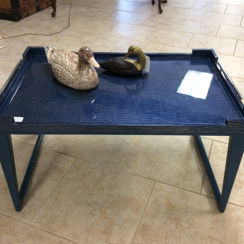 Hmmmm, is this a tray on a stand or a table with a removable top? Either way, it is pretty cool looking, not to mention multi-functional. It is a THEO ALEXANDER piece, and is made entirely of pre-formed wood and acrylic. The blue color is heavenly!!! $395!