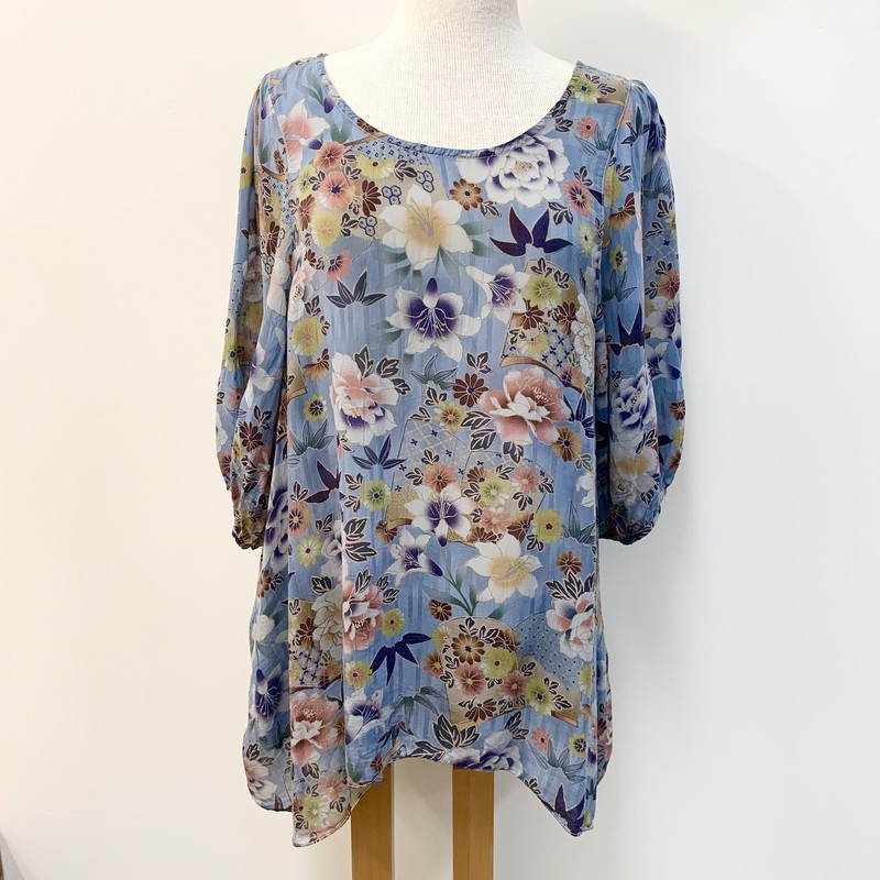 Tianello Asian Floral Print Blouse<br /> With Pockets<br /> 100% Rayon<br /> Blue/Multi<br /> Size: Large