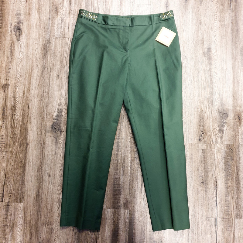 Beautiful Elley Tracy Pants.<br /> - Brand new<br /> - Green color<br /> - Side gold and silver studs<br /> - Stretchy<br /> - Waist circumference: 35 in.<br /> - Length: 37.5 in.<br /> - Size Medium/10<br /> <br /> * Please note that these measurements and pictures are for reference only and may vary slightly from the original.