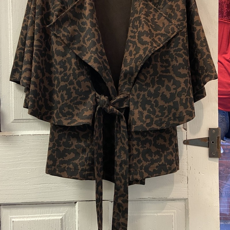 Brown Cheetah Tie Jacket<br /> Brown<br /> Size: Large