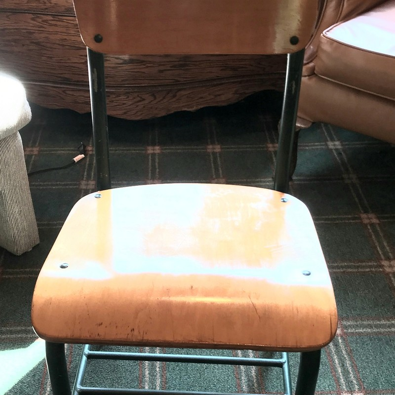 Wooden School Chair<br /> Refinished seat and green metal.<br /> This will bring back some early school memories!