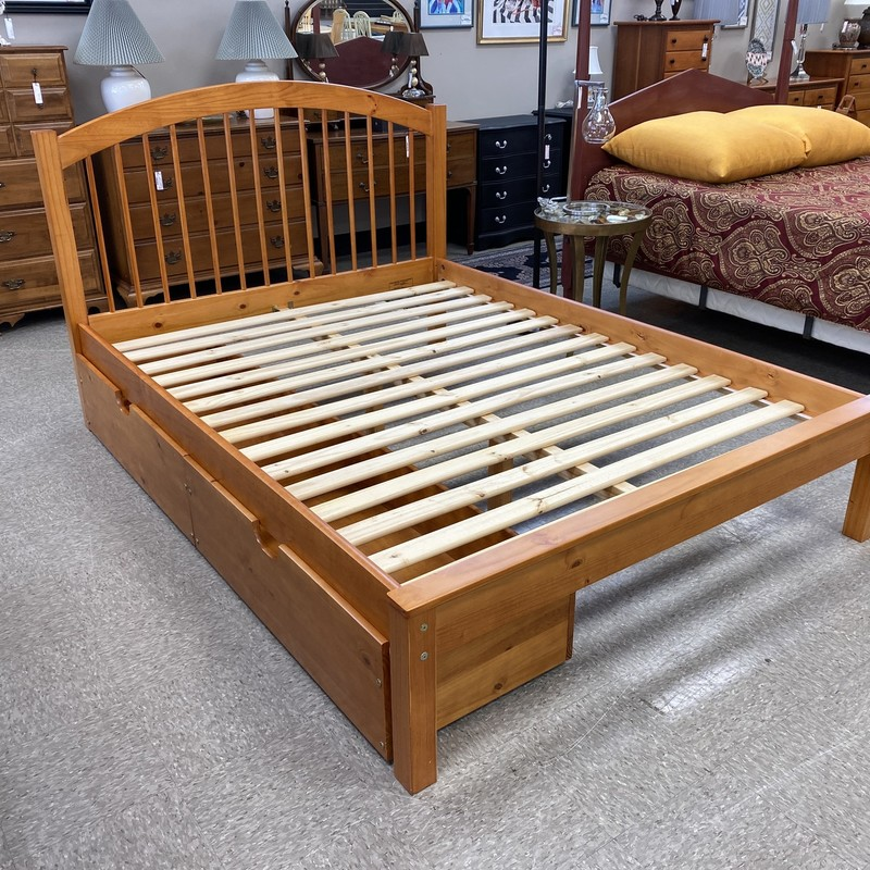 Platform Storage Bed, Cherry Stain, Size: Queen