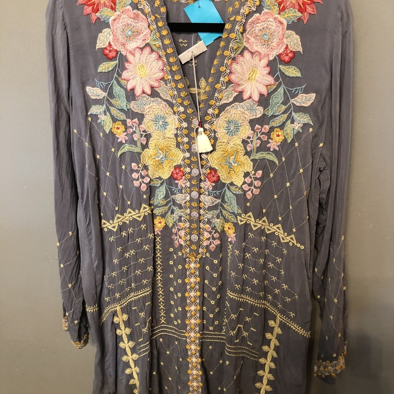 Light gray embroidery tunic