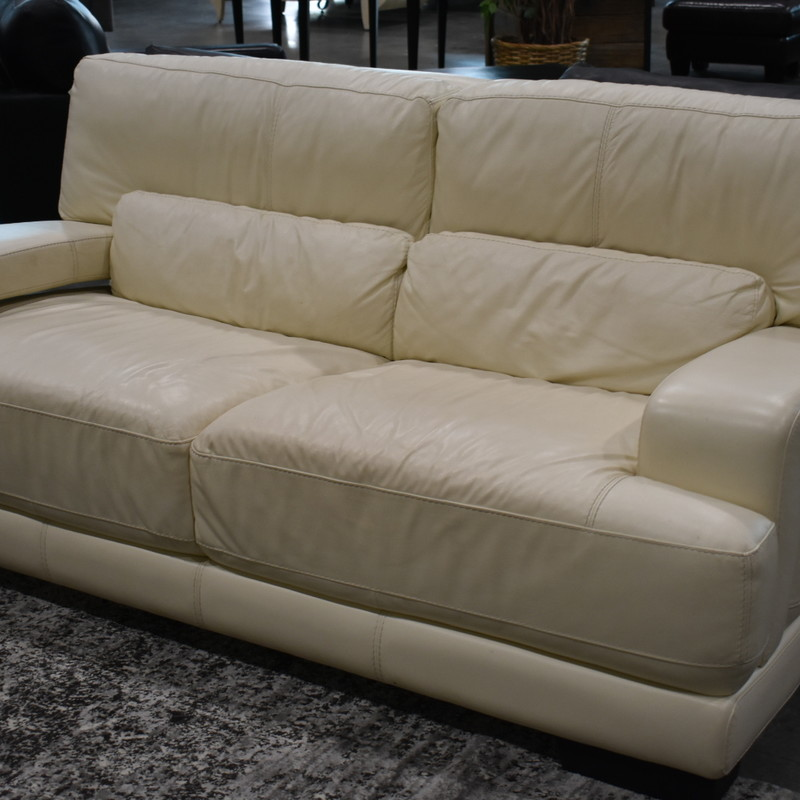 White Leather Sofa.