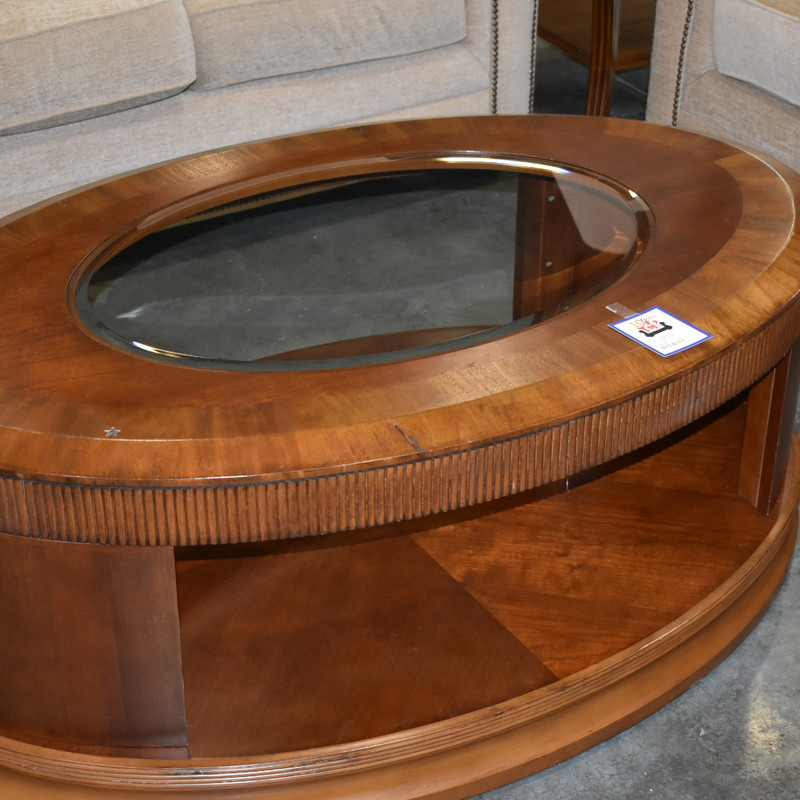 Oval Glass and wood Coffee Table