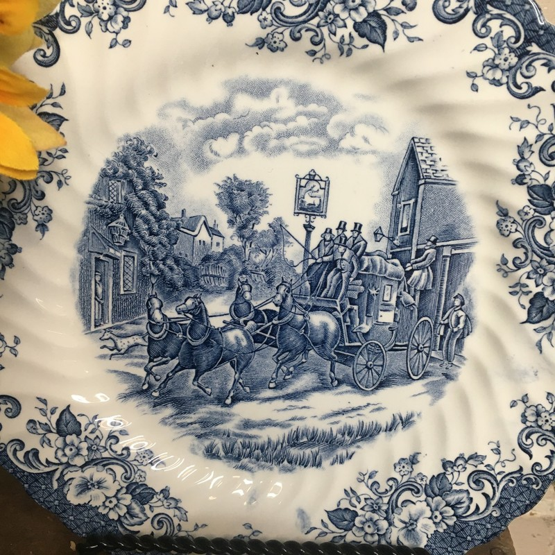 Johnson Bros Dinnerware Coach Scene<br /> Great shape overall, just a few pieces less than perfect.<br /> 9 dinner plates<br /> 10 bread plates<br /> 7 salad plates<br /> 4 cereal/soup bowls<br /> 13 cups/ 7 saucers<br /> 2 small bowls and an AS IS Sugar Bowl with lid<br /> This set for PICKUP only and subject to 7% PA sales tax upon purchase in store.