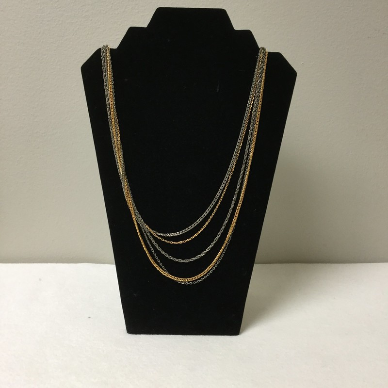 Multi Chain Necklace<br /> Gold/Silver<br /> $12.50
