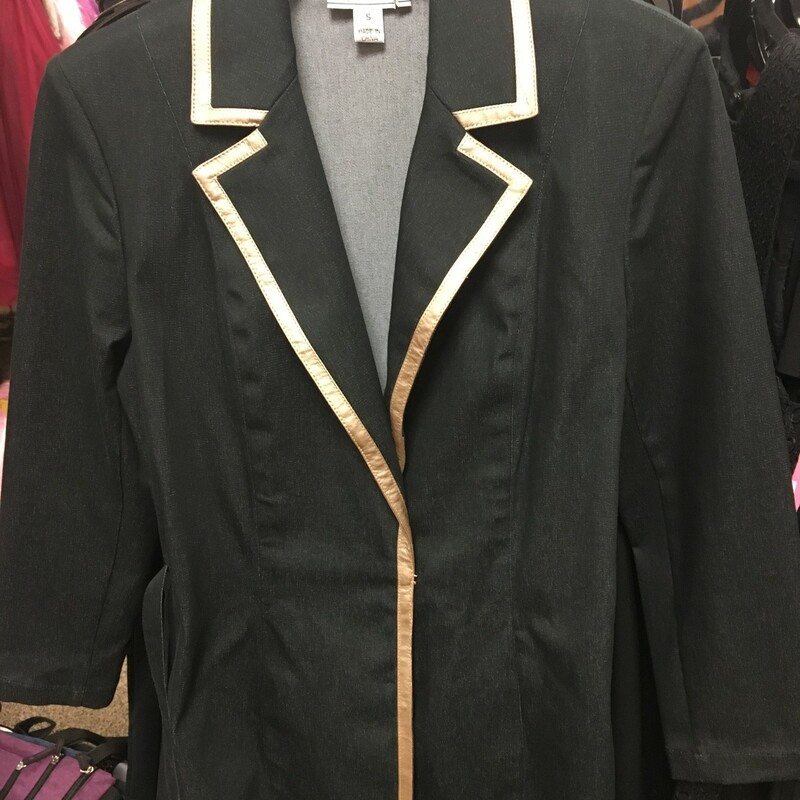 Denim Coat W/Leather Trim, Blk/gold, Size: S.  You know St. John is sharp and classy.  Pair with a black jean or leggin and a nice bootie and gold shell or black turtleneck and you are off and running.  Classy look!