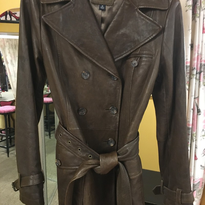 Distressed Belted Leather, Brns, Size: Med.  Great look belted or not.  Nice shades of browns.  Nice look with jeans or slacks.  Nice soft kid leather.