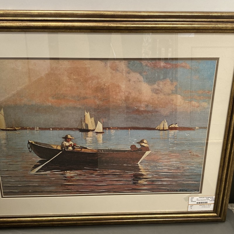 Winslow Homer Gloucester Harbor, Gold, Size: 31x25 In