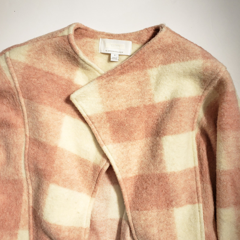 Ett:twa<br /> Pink and Cream Drape Front Jacket<br /> From Anthropologie<br /> 55% Polyester 24% Acrylic 21% Wool<br /> Wide Cut Sleeves