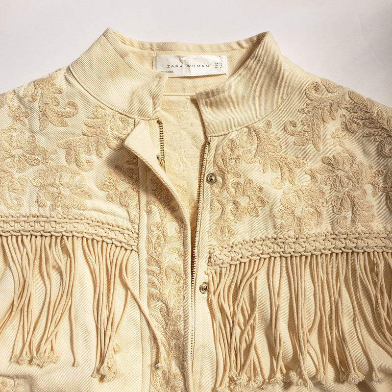 Zara Woman<br /> Ivory Jacket with Embroidery and Fringe Detail<br /> Size Small
