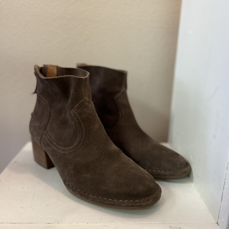 Brwn Suede Zip Ankle Boot.