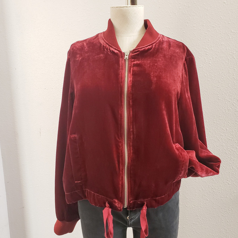 J Crew<br /> Maroon Velvet Cropped Jacket<br /> Ties at Bottom<br /> Zips up the Front<br /> Size Small