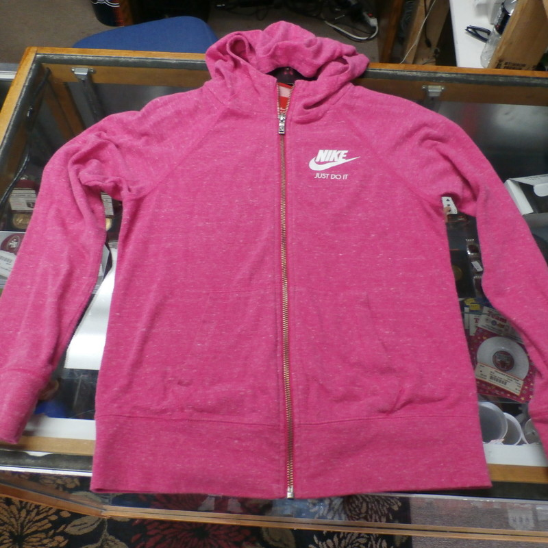 "YOUTH Nike ""Just Do It"" zip-up hoodie pink organic cotton blend size L #22958<br /> Rating: (see below) 3- Good Condition<br /> Team: N/A<br /> Player: N/A<br /> Brand: Nike<br /> Size: Girl's YOUTH Large (Chest: 17"" x Length: 21"";) measured flat - armpit to armpit and shoulder to hem<br /> Color: pink<br /> Style:  long sleeve; screen printed; zip-up<br /> Material: 60% organic cotton 40% recycled polyester<br /> Condition: 3- Good Condition; wrinkled; some pilling and fuzz; material is worn from wearing and washing; some fading and discoloration; no rips or tears; three small 1-inch light stains on front beneath logo (see photos)<br /> Item #: 22958<br /> Shipping: FREE"