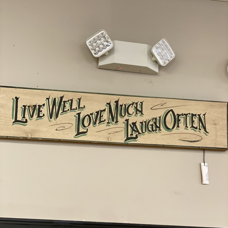 Live Well, Love Much, Laugh Often Sign, Beige, 36x8 inch