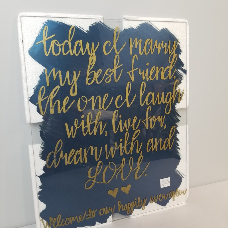 Glass Today I Marry Sign, Navy/Gold, Size: 16x20