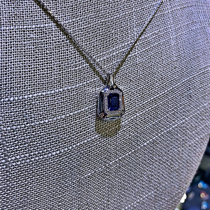 Designed By Spark<br /> 1.01 Ct Sapphire 18k White Gold .11CTW DIA Pendant