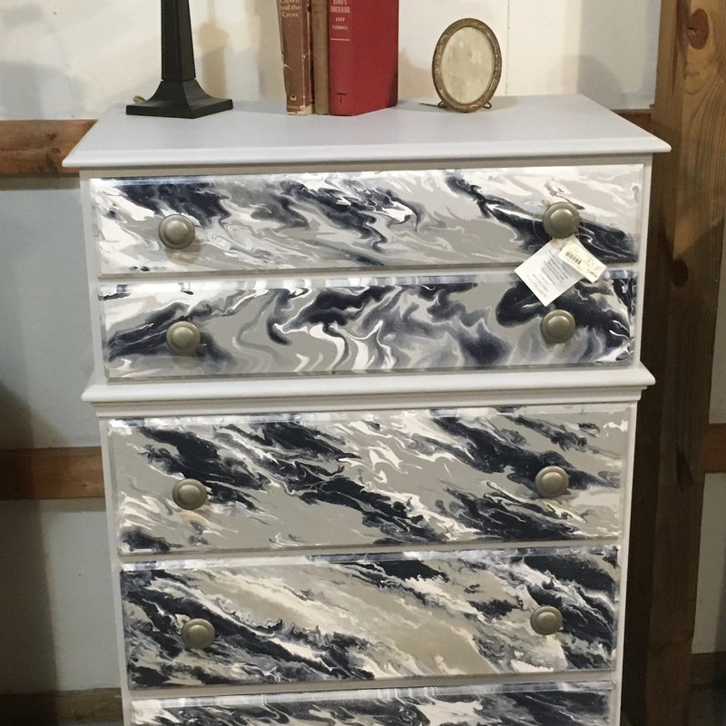 "Painted Dresser, Wood, 32L x 19W x 48H<br /> This stunning piece is painted with Fusion Mineral Paint using the paint pour method.  The soothing grays and blues makes this the perfect statement piece for your river house, lake house or beach home.  OR turn your room or a guest room into a ""Beach Get-Away""!<br /> <br /> For pickup only. Call the store to put on hold for 24hours. Subject to 7% PA sales tax upon purchase."
