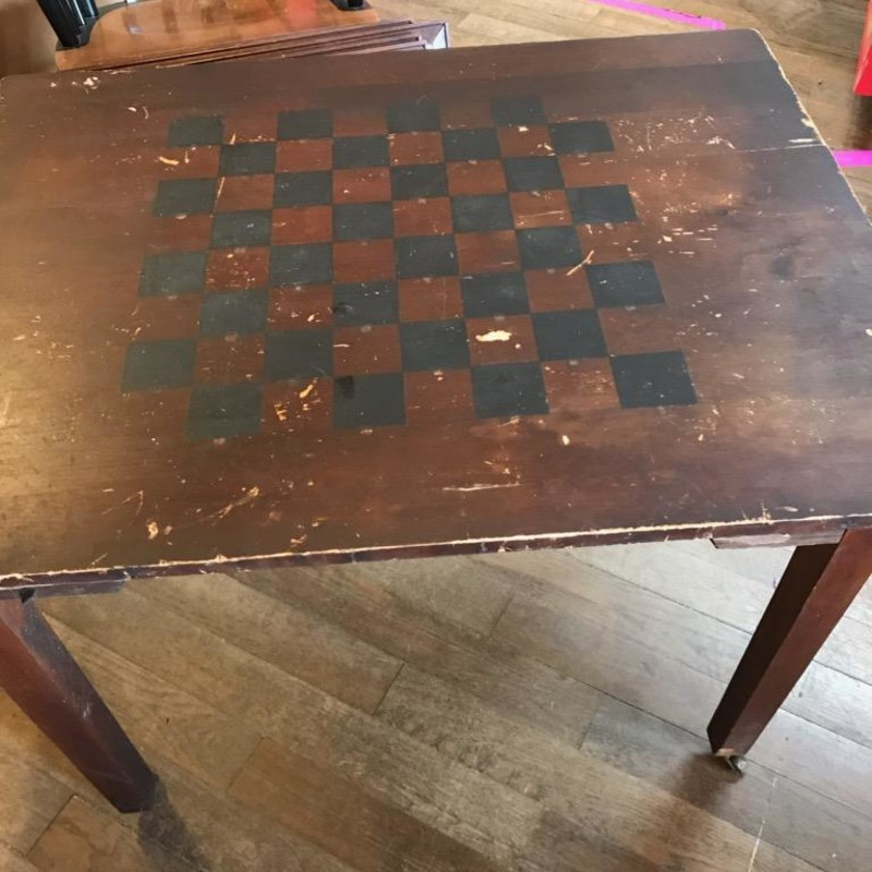 "Antique Checkerboard Table, Size: 31""x24""x26<br /> <br /> Have the checkers ready to go on this beautiful table that was once used for drinks in the local tavern!"