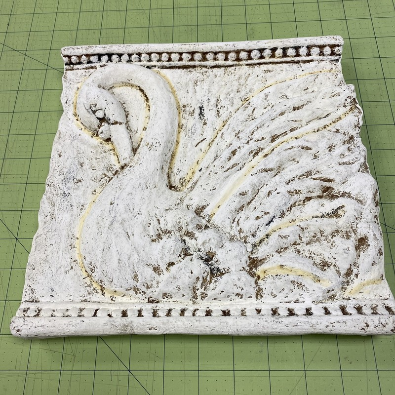 Plaster Relief Of Swan, Off Whte, Size: 10x10