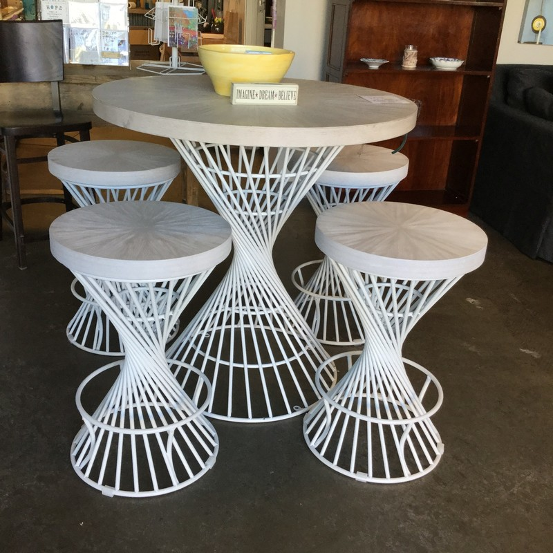 "Kanister Table with 4 Chairs, White, Size: 36"" Round"