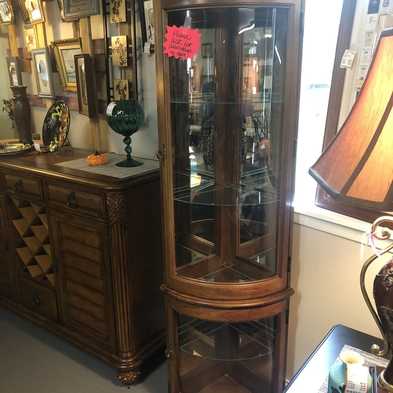 Corner Curved Glass Curio.