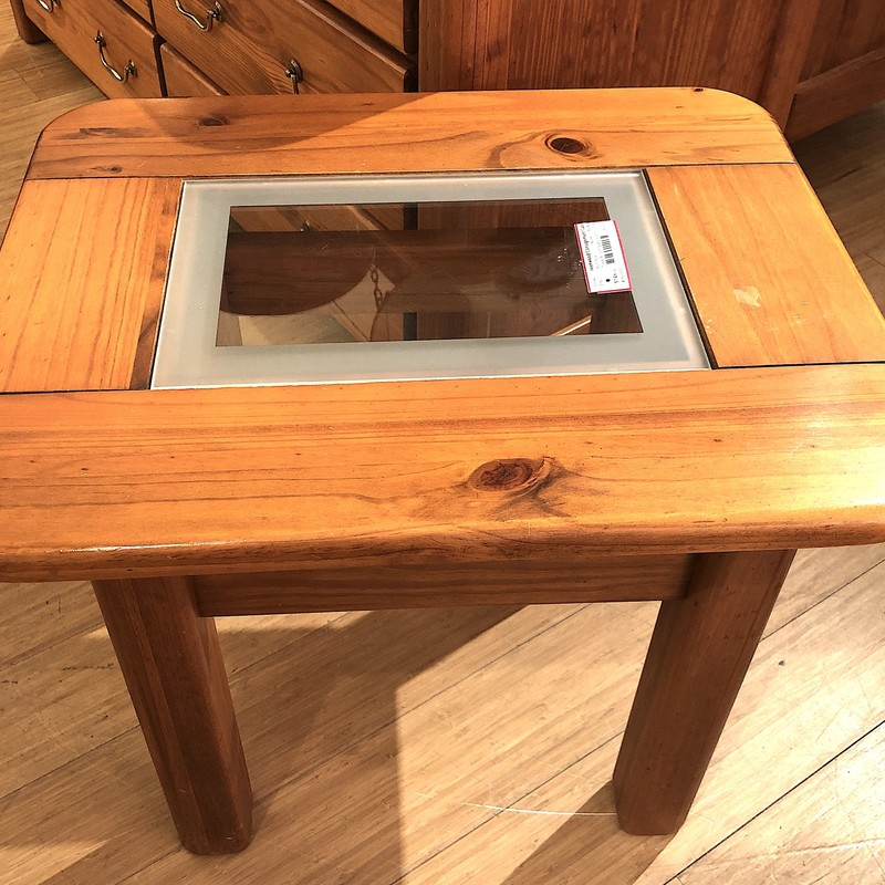 Accent Table with Glass Insert, Size: 20x25x21