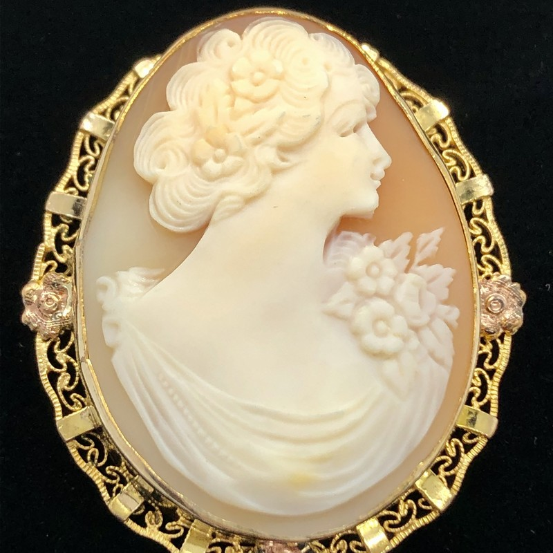 "Cameo Brooch/Necklace, marked 1.200 12K (which is antique European GP).  Size: 1 3/4"". It can be worn as a brooch or a ring lifts up to put a chain through.<br /> <br /> Will ship USPS Priority mail."