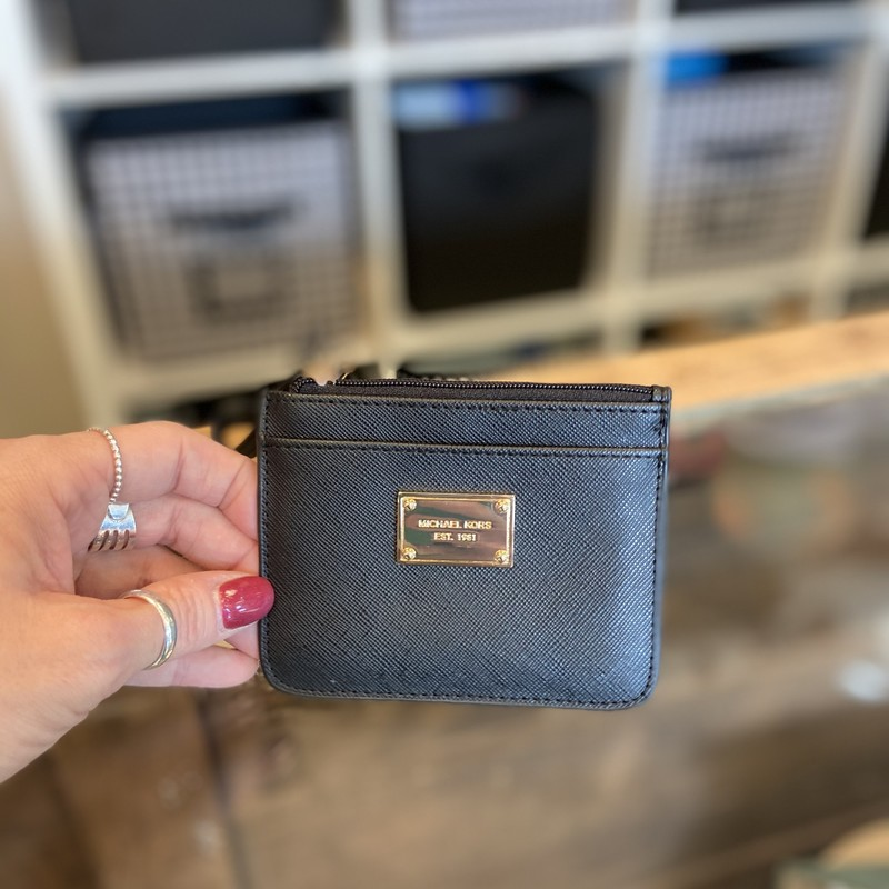 Blk Leather Card Wristlet.