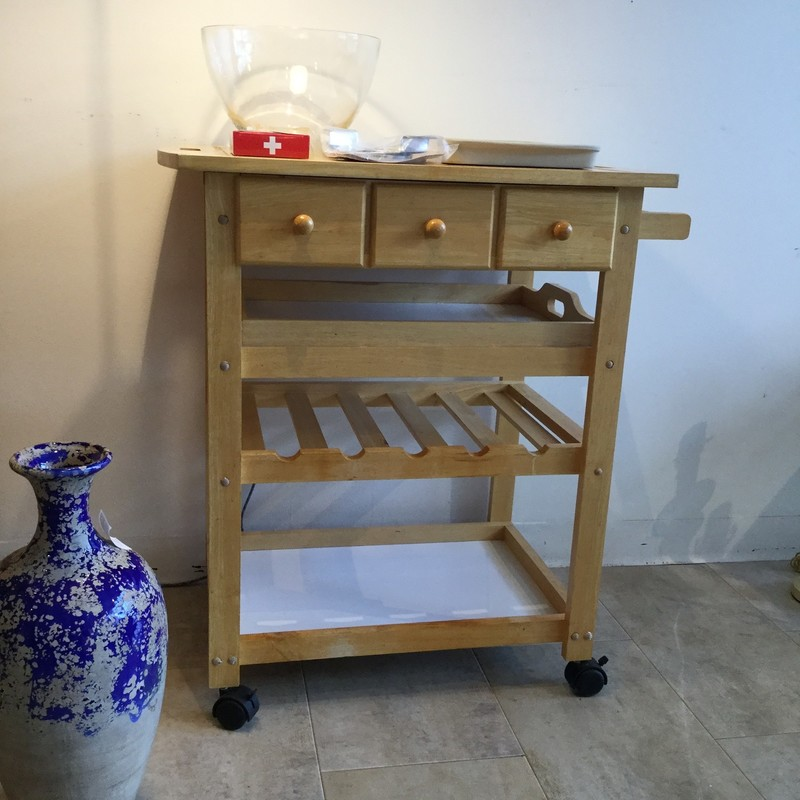 "Kitchen Cart With Drawers, Tray & Wine Rack<br /> Wood<br /> Size: 31""L X 20""W X 33""H"