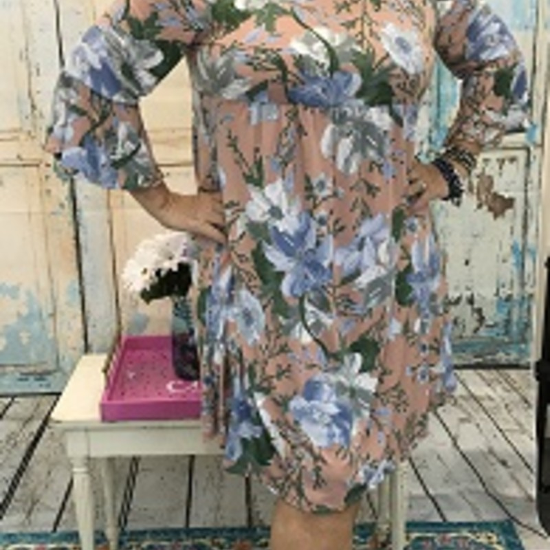 Emerald Dress in Blush with Floral Print<br /> Low back...bell sleeves<br /> 95% Polyester  5% Spandex<br /> 38&quot; length