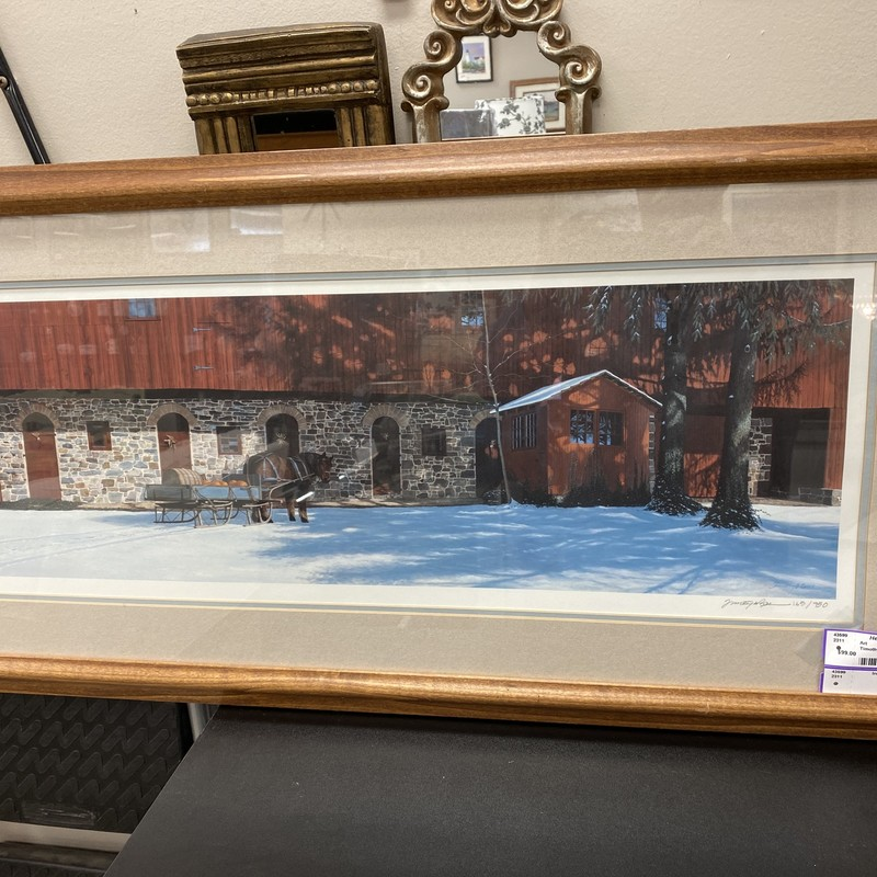 Timothy G Barr Signed Autumn Print, Dark Oak, Size: 37x18 In