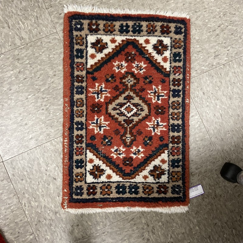 Hand Knotted Scatter Rug, Red, Size: 16x24 In