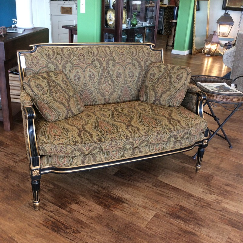 What can I say about a paisley settee.... Well first of all it is quite comfortable, and was recovered at some point in the not-too-distant past.. The solid wood frame has handsome carved details and a painted black and bronzy/gold finish. ONLY $495!