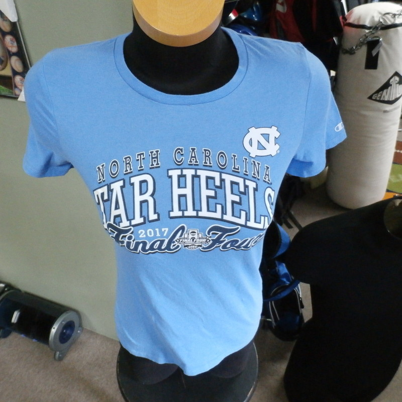 "North Carolina Tar Heels Final Four 2017 shirt Champion blue size medium  #22830<br /> Rating: (see below) 2- Great Condition<br /> Team: North Carolina Tar Heels<br /> Player: Team<br /> Brand: Champion<br /> Size: Women's Medium- (Measured Flat: chest 16"", length 24"")<br /> Color: blue<br /> Style: short sleeve; screen printed<br /> Material: 100% cotton<br /> Condition: 2- Great Condition; wrinkled; some pilling and fuzz; material is stretched and worn from wearing and washing; some discoloration and fading; no rips or tears; no stains; screen printing looks good  (see photos)<br /> Item #: 22830<br /> Shipping: FREE"