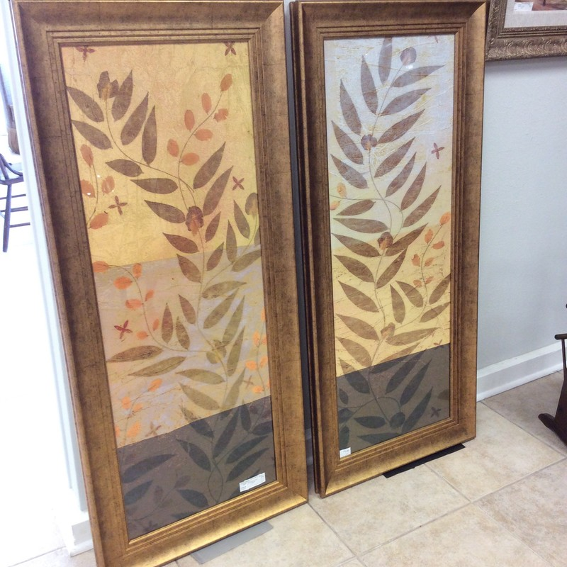 This duo is really quite lovely. They each stand just under 5 feet tall, so they will need a big wall to really make a statement. The frames have an antiqued gold finish. The prints themselves are muted earth tones. Stop by and see them for yourself. ONLY $248.50 for the pair!
