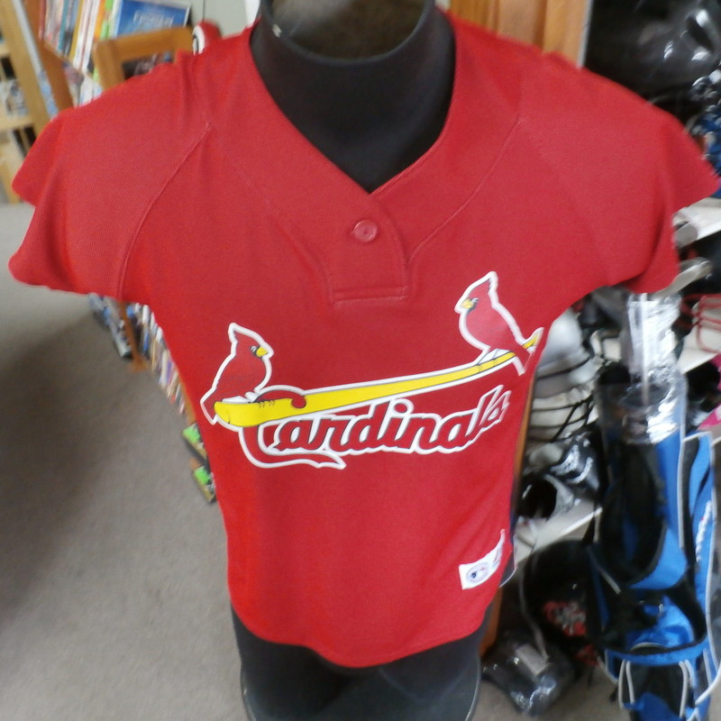 "St. Louis Cardinals Majestic shirt red size medium 100% polyester #22827<br /> Rating: (see below) 2- Great Condition<br /> Team: Cardinals<br /> Player: n/a<br /> Brand: Majestic<br /> Size: Men's Medium- (Measured Flat: Across chest 19""; Length 23"")<br /> Measured Flat: underarm to underarm; top of shoulder to bottom hem<br /> Color: red<br /> Style: short sleeve; screen printed<br /> Material: 100% polyester<br /> Condition: 2- Great Condition: gently used (see photos)<br /> Item #: 22827<br /> Shipping: free"
