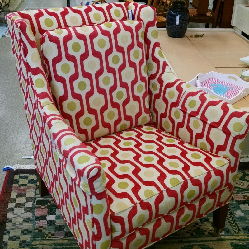 Upholstered Side Chair, Red, Size: None