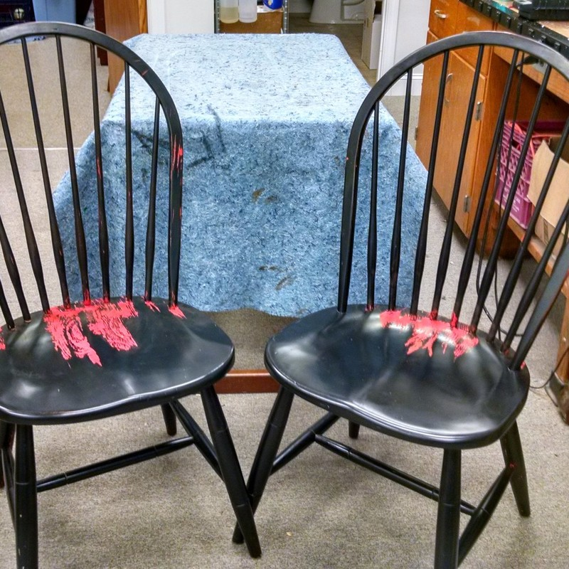 Ethan Allen Re-painted, Blk/Red, Size: None<br /> With these re-painted versions of Ethan Allen New Country chairs you&#039;ll be ready for any apolcalypse!